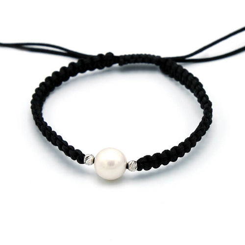 Shamballa Pearl Cord Bracelet With 18kt White Gold ,[product vendor],JewelStreet