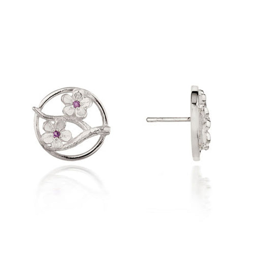 Silver Cherry Blossom Stud Earrings with Garnets ,[product vendor],JewelStreet