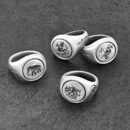 Sterling Silver Elephant Signet Ring ,[product vendor],JewelStreet