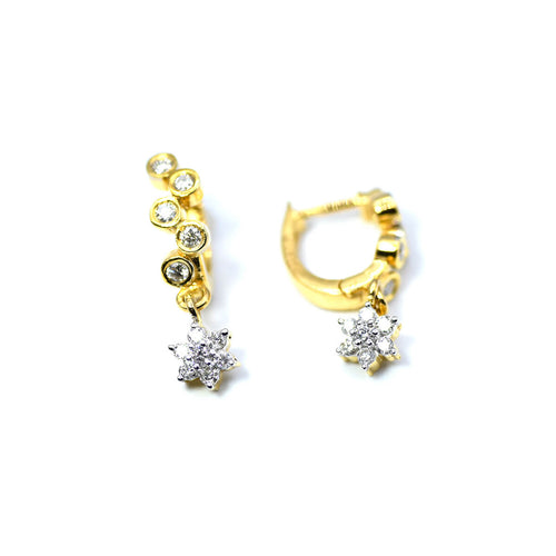 18kt Yellow Gold Snaky Diamond Hoops With Diamond Drops ,[product vendor],JewelStreet