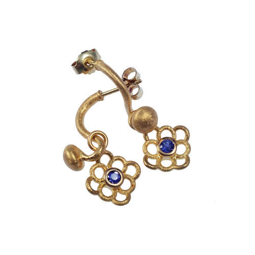 Yellow Gold Sprout Chandelier with Iberis Blue Earrings ,[product vendor],JewelStreet