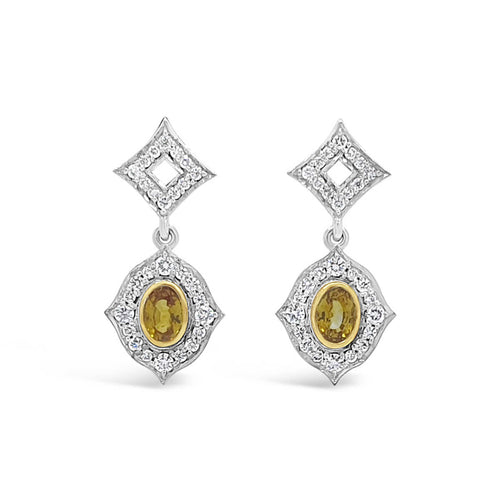 18kt White & Yellow Gold Sunrise Earrings ,[product vendor],JewelStreet