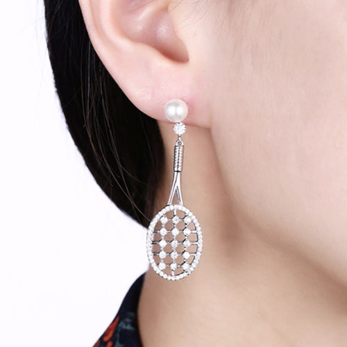 Sterling Silver Tennis Racket Earrings