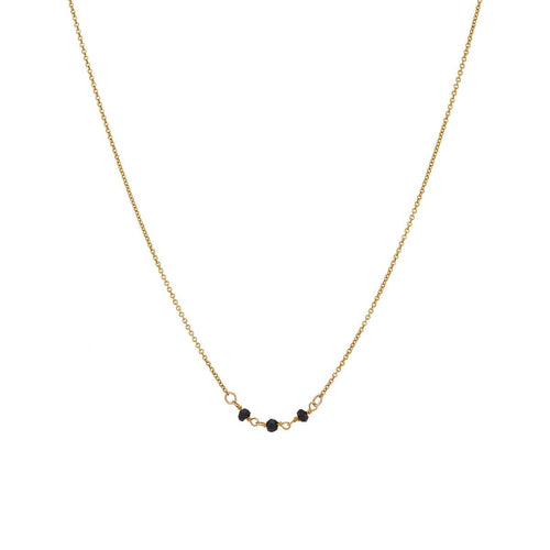 Yellow Gold Elegant Three Gemstone Necklace