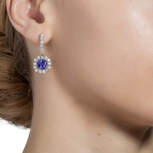 White Gold & Tanzanite Haute Bijoux Drop Earrings | Katherine LeGrand