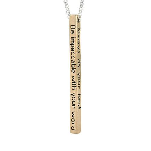 Bronze Four Agreements Bar Adjustable Necklace