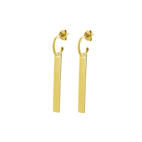 Yellow Gold Plated The Line Hoop Earrings ,[product vendor],JewelStreet