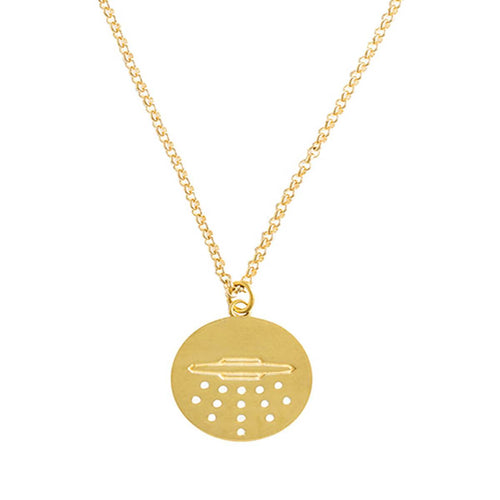 18kt Gold Dipped UFO Medal Pendant With Enamel