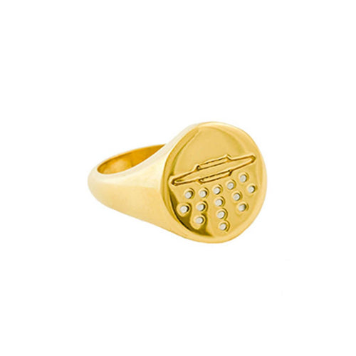18kt Gold Dipped UFO Signet Ring With Enamel