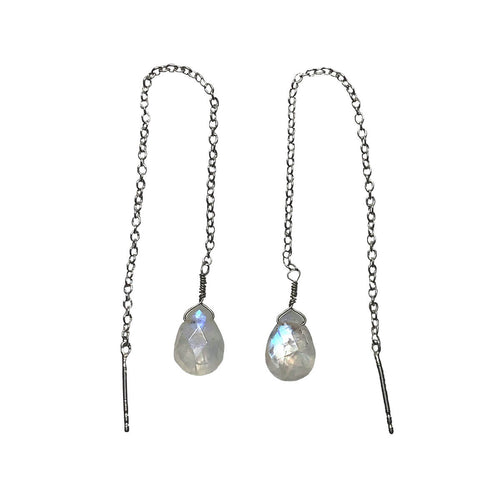Rhodium Plated Threader Earrings With Rainbow Moonstone ,[product vendor],JewelStreet