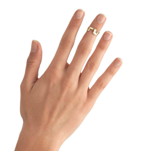 Yellow Gold Plated Small Square Stackable Midi Ring