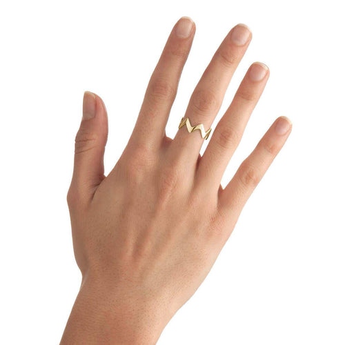 Yellow Gold Plated Small Zigzag Stackable Ring