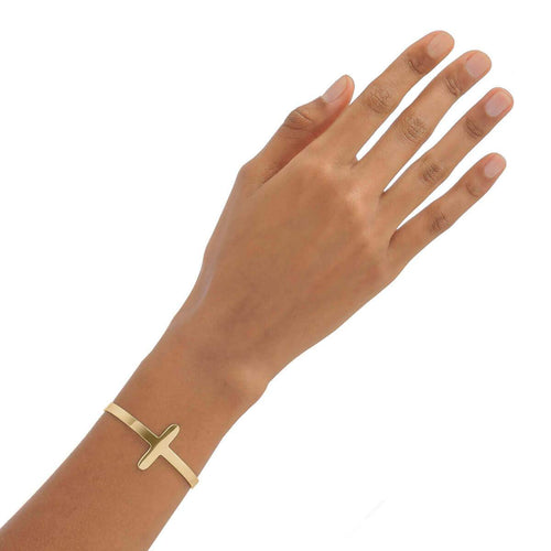 Yellow Gold Plated Oval Cuff