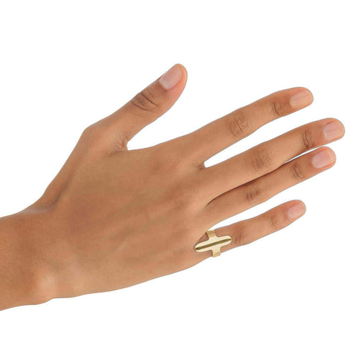 Yellow Gold Plated Oval Midi Ring