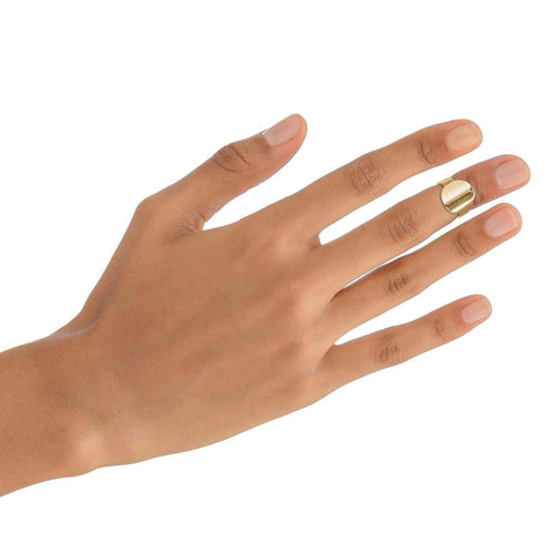 Yellow Gold Plated Round Midi Ring