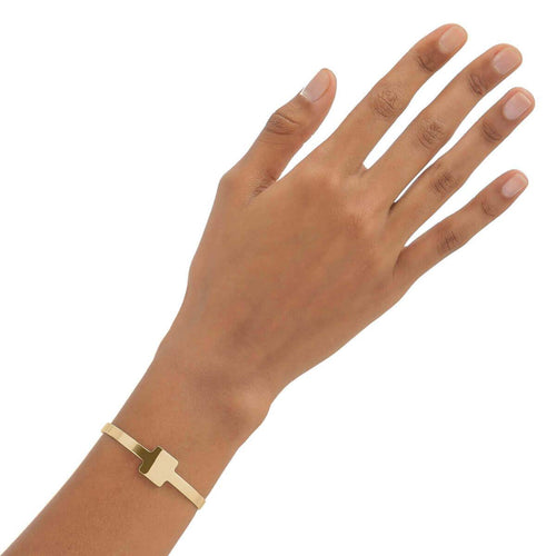 Yellow Gold Plated Square Cuff