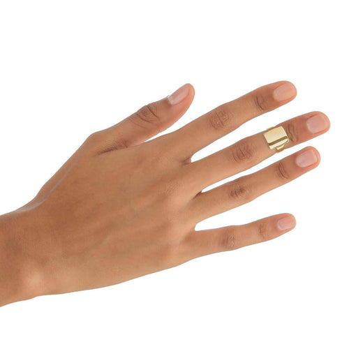 Yellow Gold Plated Square Midi Ring