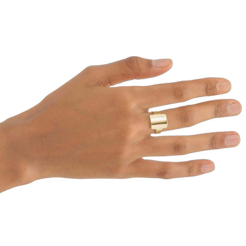 Yellow Gold Plated Square Ring