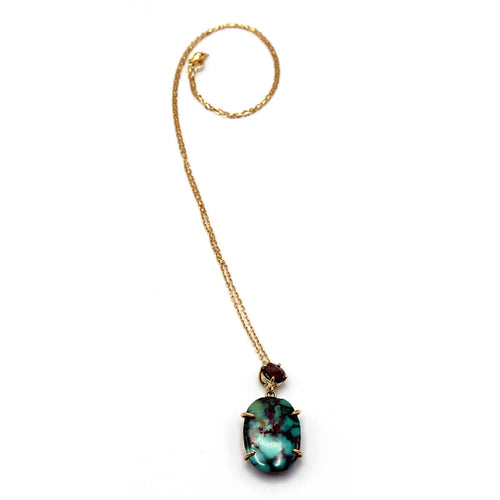 18kt Rose Gold Turquoise & Brown Diamond Pendant ,[product vendor],JewelStreet