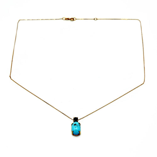 18kt Yellow Gold Turquoise & Sapphire Necklace ,[product vendor],JewelStreet