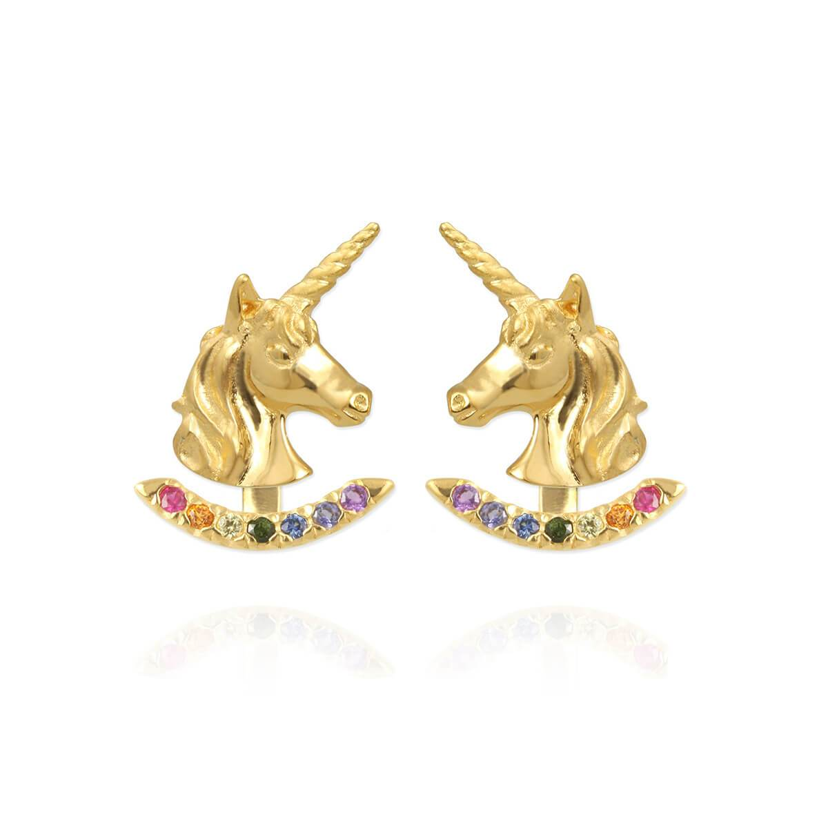Yellow Gold Plated Unicorn Earrings With Rainbow Ear Jackets Gold Plating
