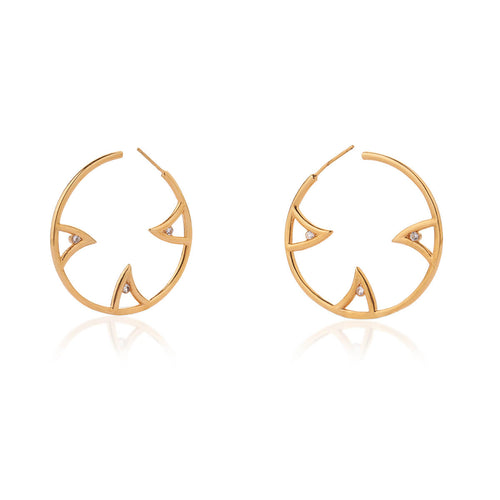 Yellow Gold Vermeil Sharch Hoop Earrings With White Sapphire ,[product vendor],JewelStreet