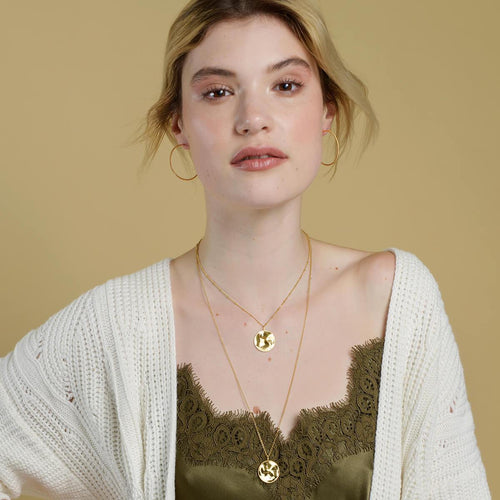 18kt Yellow Gold Vermeil Vintage Medallion Pendant With Belcher Chain