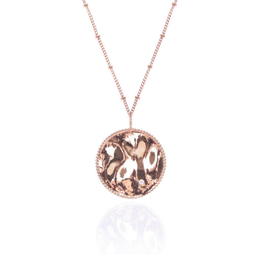 18kt Rose Gold Vermeil Vintage Medallion Pendant With Satellite Chain