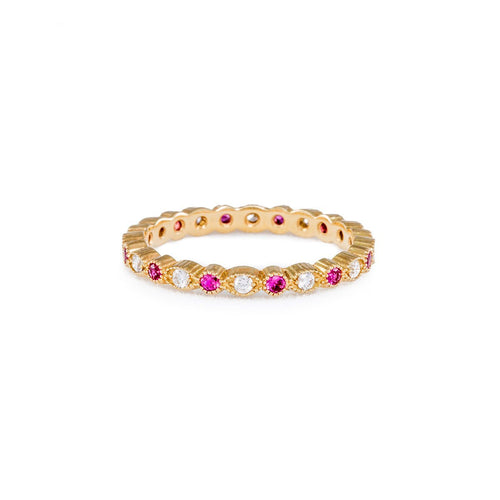 Gold & Pink Sapphire Petite Stacking Ring | Katherine LeGrand