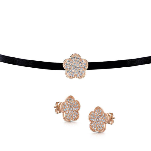 Rose Gold Plated Choker & Stud Set