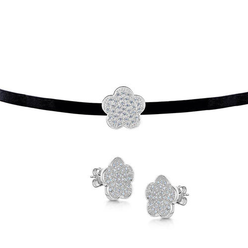 Rhodium Plated Choker & Stud Set