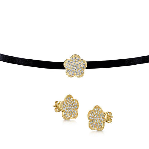 Yellow Gold Plated Choker & Stud Set