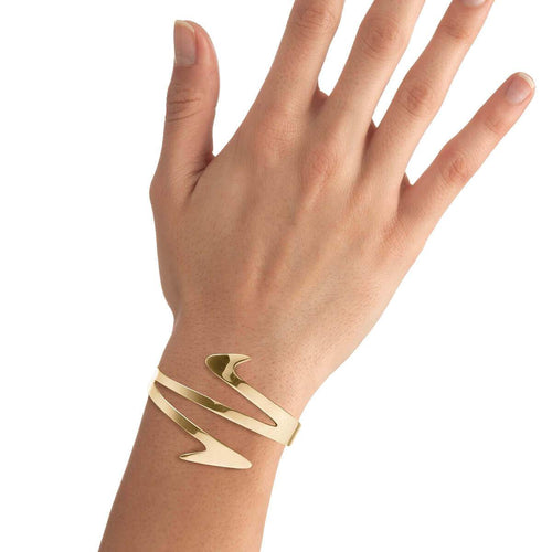 Yellow Gold Plated Ziggy Cuff