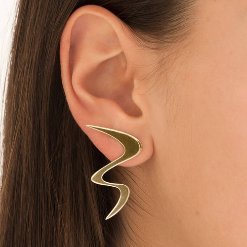 Yellow Gold Plated Ziggy Earrings