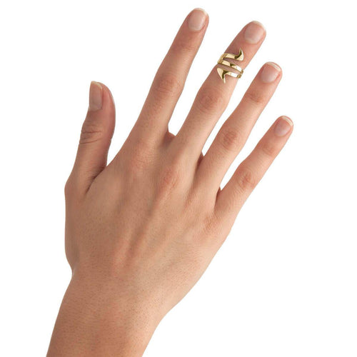 Yellow Gold Plated Ziggy Midi Ring