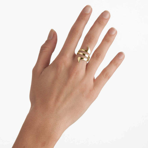 Yellow Gold Plated Ziggy Ring