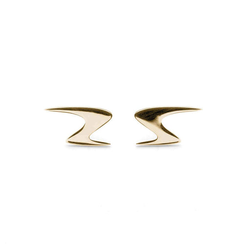 Yellow Gold Plated Ziggy Stud Earrings