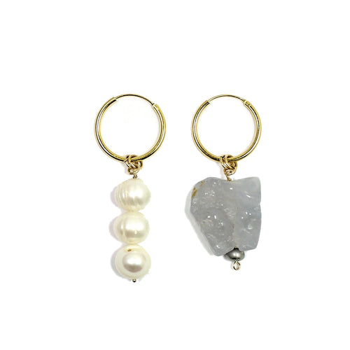 22kt Gold Gemma Mismatched Agate & Pearl Hoop Earrings  ,[product vendor],JewelStreet