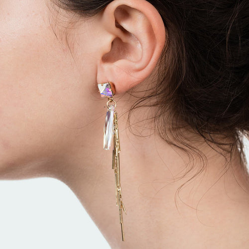 Yellow Gold Plated Baguette Cluster Earrings