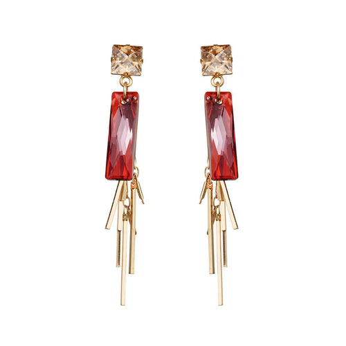 Yellow Gold Plated Baguette Cluster Magma Earrings