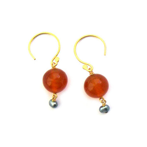 Fresco Carnelian & Freshwater Pearl Pebble Earrings ,[product vendor],JewelStreet