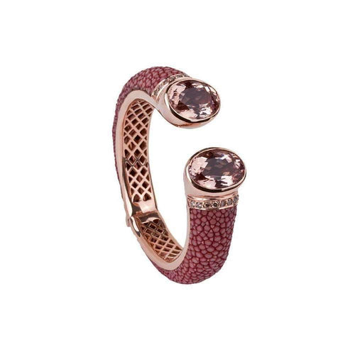 Morganite Bolero 18kt Gold Bangle With Stingray Leather-a cuckoo moment...-JewelStreet EU