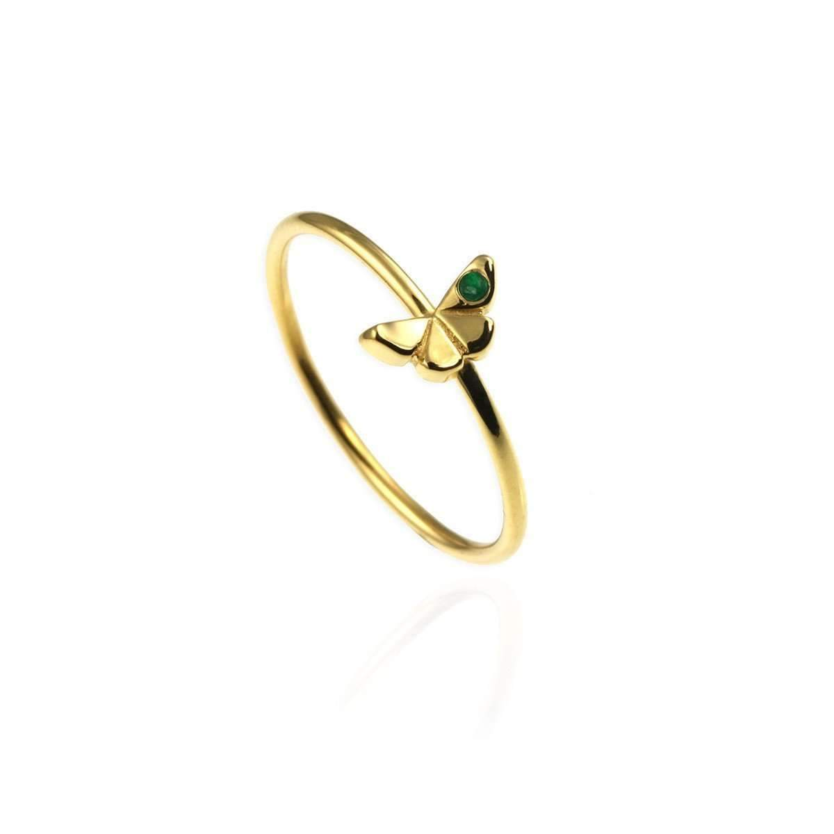 Tiny Golden Butterfly Ring with Emerald | JewelStreet