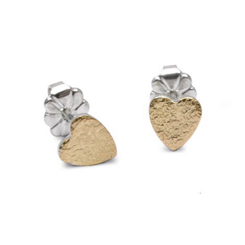 Silver & 18kt Yellow Gold Crunkle Heart Earrings ,[product vendor],JewelStreet