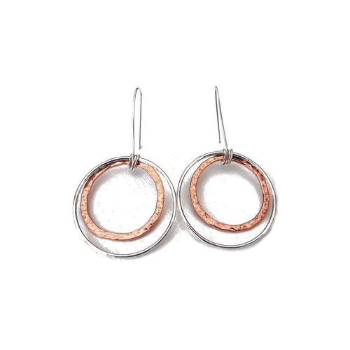 Lightly Hammered Silver & Copper Hoop Earrings ,[product vendor],JewelStreet