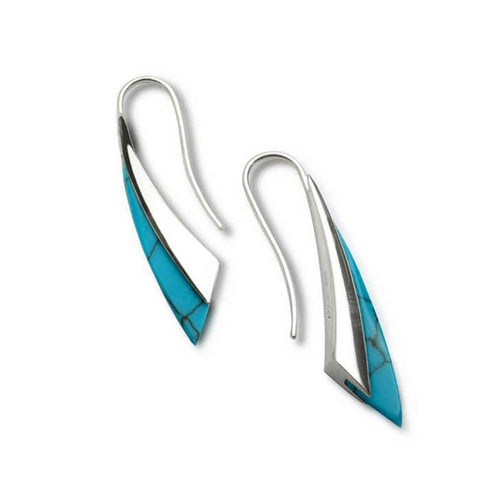 Silver & Turquoise Fluidity Earrings ,[product vendor],JewelStreet