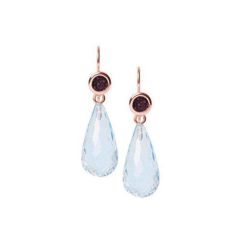 Annie Earrings With Blue Topaz and Stingray Leather-a cuckoo moment...-JewelStreet EU