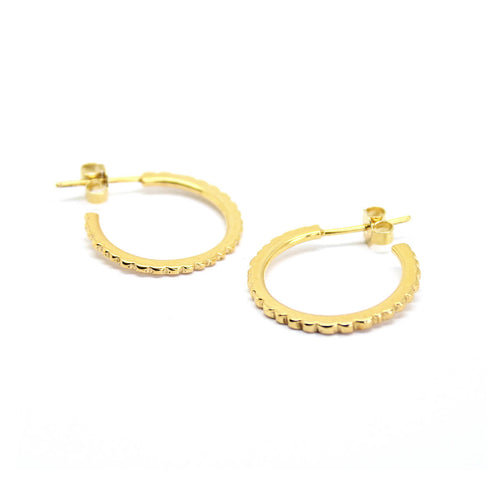 Yellow Gold Plated Facet Hoops ,[product vendor],JewelStreet