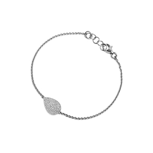 Mini Pavé Silver Diamond Teardrop Bracelet-Bridget King Jewelry-JewelStreet US