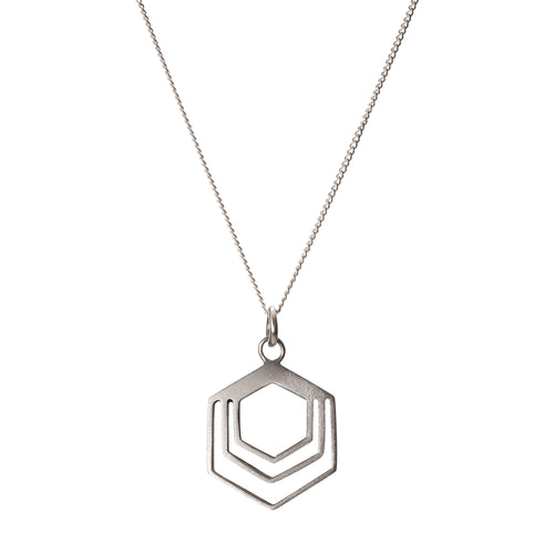 Sterling Silver Hexagon Necklace ,[product vendor],JewelStreet